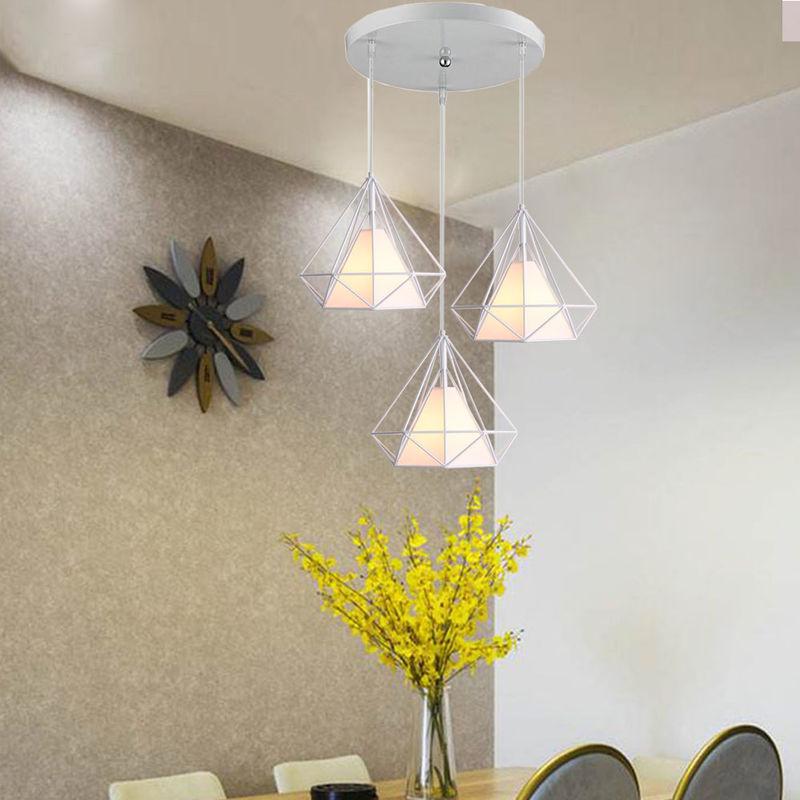 3 Tete Moderne Lustre Suspension Cage Diamant E27 25cm Lampe Abat Jour Metal Luminaire Pour Salle A Manger Chambre Axhup