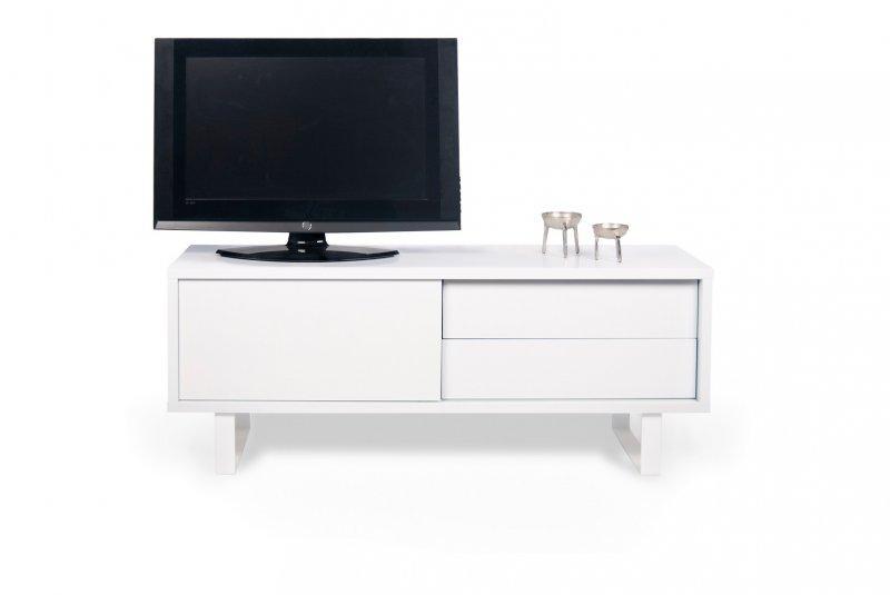 Meubles tv et hi fi comparez les prix pour for Meuble 2 tiroirs 120 cm woodstock laque blanc