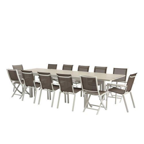 ENSEMBLE TABLE + CHAISES TULUM ALUMINIUM BLANC - T8/12+F8+C4