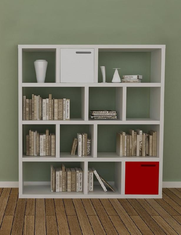 tema home berlin bibliotheque etagere blanche mate avec 2 boites. Black Bedroom Furniture Sets. Home Design Ideas
