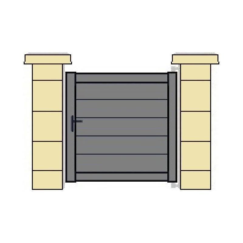 portillon plein meuse droit en aluminium gris. Black Bedroom Furniture Sets. Home Design Ideas