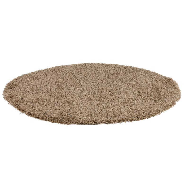 tapis design 39 cava 39 rond 160 cm poils longs brun comparer les prix de tapis design 39 cava 39 rond. Black Bedroom Furniture Sets. Home Design Ideas