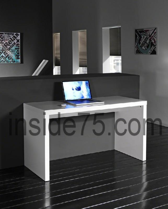 Bureau design contemporain laque blanc for Bureau blanc laque