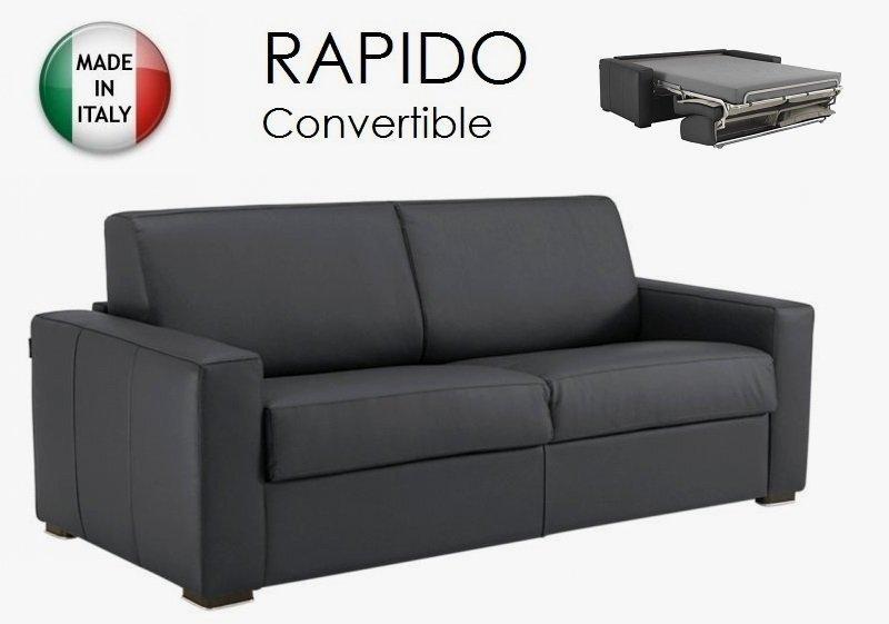 canape convertible ouverture rapido 120cm dreamer cuir eco gris couchage quotidien. Black Bedroom Furniture Sets. Home Design Ideas