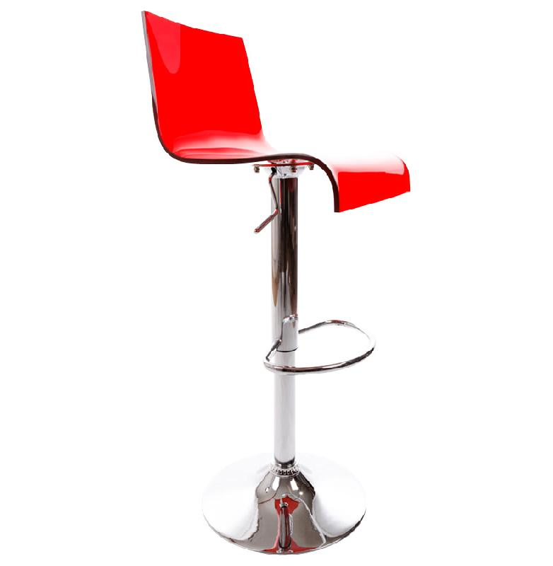 tabouret de cuisine 39 nemo 39 r glable en plexiglas rouge. Black Bedroom Furniture Sets. Home Design Ideas