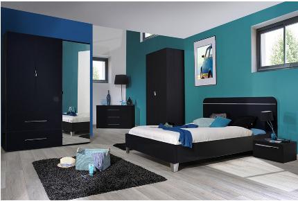 Chambre complete adulte noire laquee for Chambre complete design noir