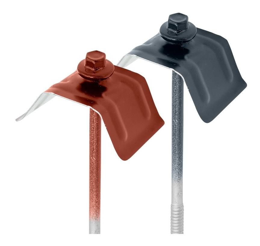 Vis autoperceuses 6,3x100 mm RAL 7016 gris anthracite avec rondelle EPDM t/ête hexagonale zingu/ée support acier par 50