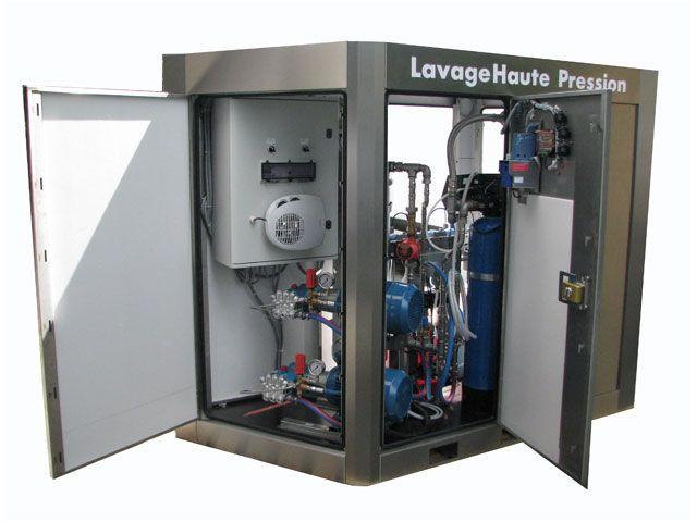 Armoire de lavage haute pression EXTEND'EAU  | 2 pistes - Lavage de véhicules, vélomoteurs, motos et véhicules commerciaux - Aire de lavage très étroite - Gamme complète d'accessoires