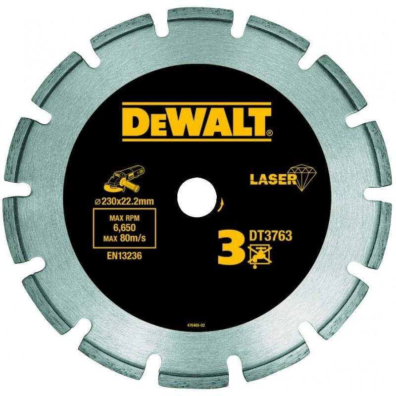 Dewalt dt3763-xj disque laser pour béton dur/granités 230x22.2mm, hauteur segment 8.5mm 22.2