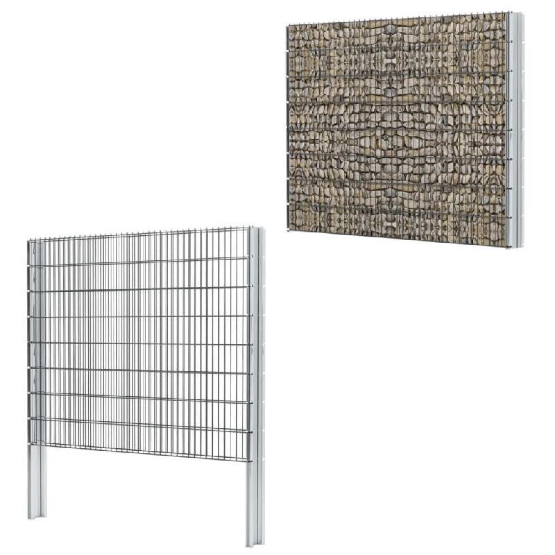 Vidaxl clôture de gabion 2d acier galvanisé 2,008x1,63m 14m total gris