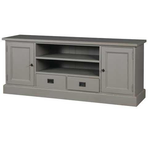 Meuble tv 2 portes 2 casiers 2 tiroirs pin gris