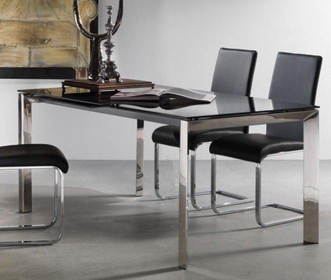 Table Repas Extensible Titanium 160 X 90 Cm Verre Noir Et Acier Chrome