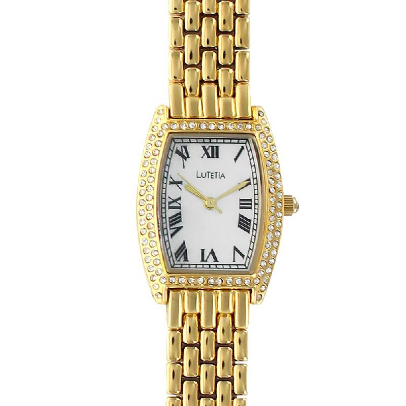 Montre lutetia métal doré pierres synthétiques chiffres romain et bracelet style grain de riz