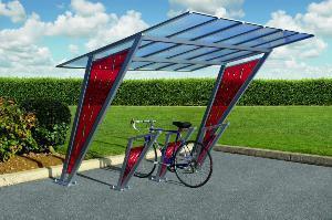Abri vélo ouvert  venise / structure en acier / toiture en polycarbonate alvéolaire