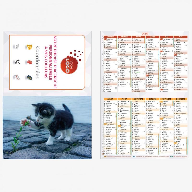 Calendrier Animaux.Calendrier Poche Animaux Personnalise