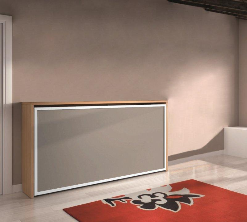 armoire lit transversale city cerisier et taupe couchage 90 22 190 cm. Black Bedroom Furniture Sets. Home Design Ideas