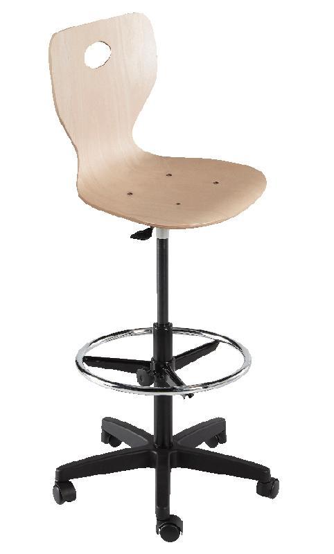 chaise dessinateur fidji pietement plastique sur patins coque bois verni naturel. Black Bedroom Furniture Sets. Home Design Ideas