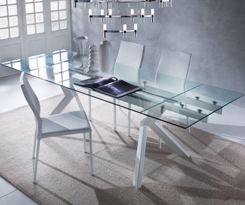 Table repas extensible en verre tokyo pi tement en acier laqu blanc compar - Table a manger en verre extensible ...