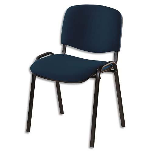 Chaise de conférence iso revêtement tissu non-feu am18 black jet noir, structure 4 pieds métal époxy noir
