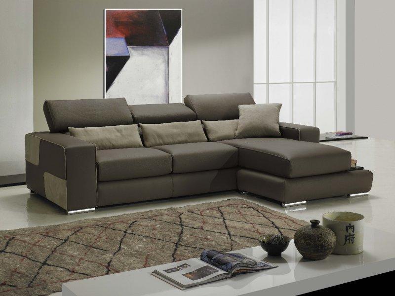 Domino canape cuir vachette couleur taupe coussins marron clair