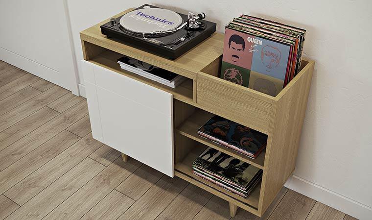 buffet design scandinave en chene vernis cruz. Black Bedroom Furniture Sets. Home Design Ideas