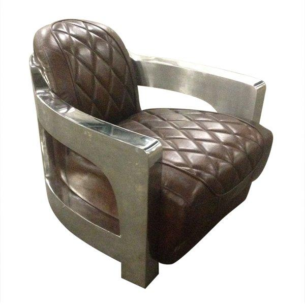 fauteuil metal club cuir vintage marron. Black Bedroom Furniture Sets. Home Design Ideas