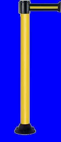 Poteau alu jaune laqué à sangle noir/jaune 4m x 50mm sur socle fixe - 2052139