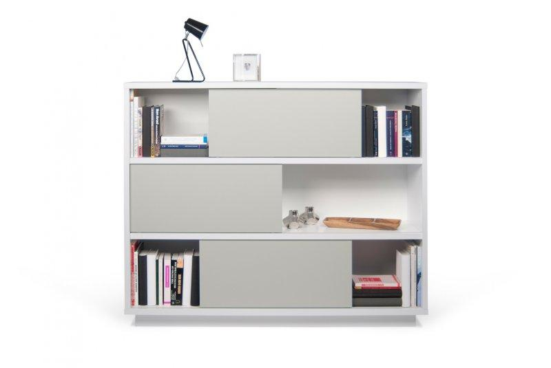 nilo 6 casiers bibliotheque etagere laquee blanc matte portes grises. Black Bedroom Furniture Sets. Home Design Ideas