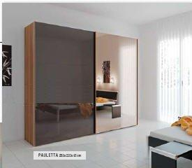 dressing 2 portes coulissantes 1 porte verre laque marron 1 porte miroir teinte bronze. Black Bedroom Furniture Sets. Home Design Ideas