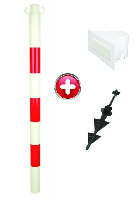 Poteau PVC grande hauteur Rouge/Blanc sur pointe avec support panneau - 2000277