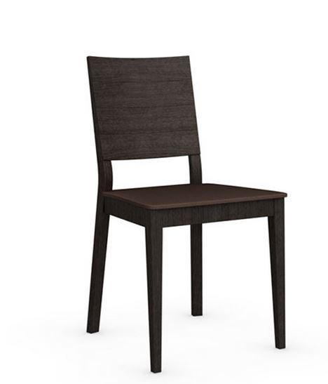 Calligaris chaise italienne style line  structure wengé assise tissus