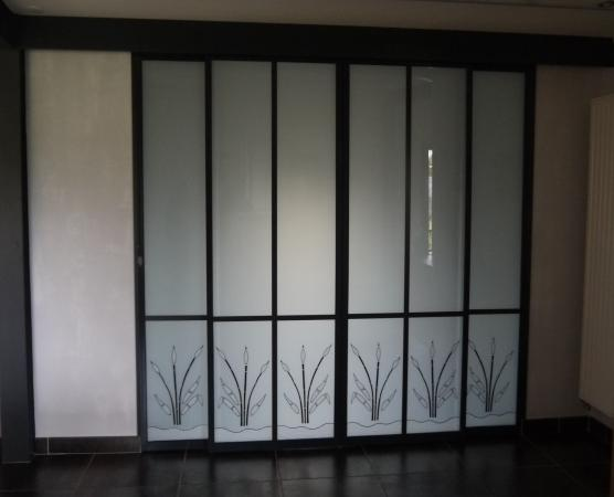 portes vitrees coulissantes en verre decoratif de securite. Black Bedroom Furniture Sets. Home Design Ideas