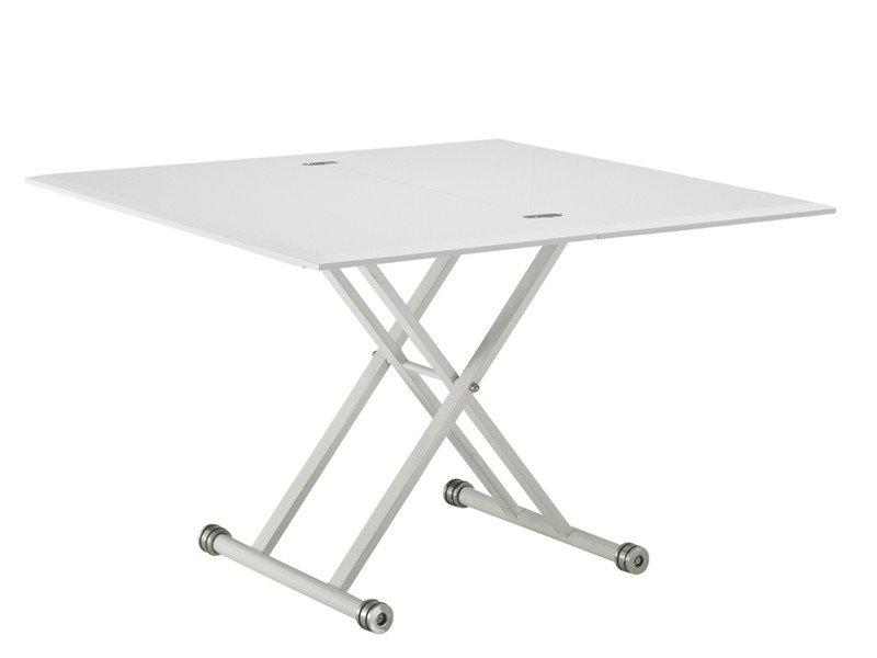 Table basse free blanc brillant relevable extensible - Charniere table basse relevable ...