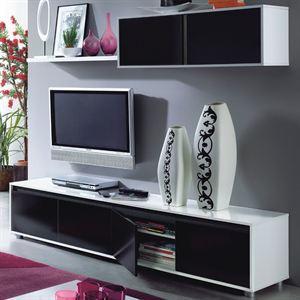 Alida sejour tv 200cm noir et blanc for Etagere sous tv