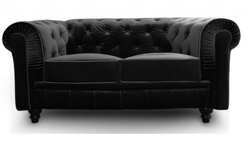 canape chesterfield royal 2 places velours noir. Black Bedroom Furniture Sets. Home Design Ideas