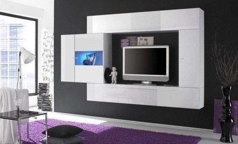 Composition murale tv design primera 4 blanc brillant - Composition murale tv design ...