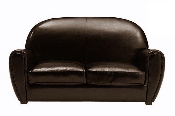 canape club 2 places en cuir bycast marron brillant. Black Bedroom Furniture Sets. Home Design Ideas