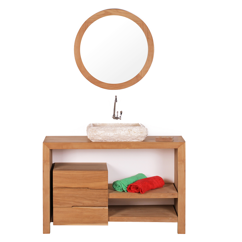 Meuble salle de bain glava en teck largeur 120 cm comparer for Meuble de salle de bain largeur 75 cm