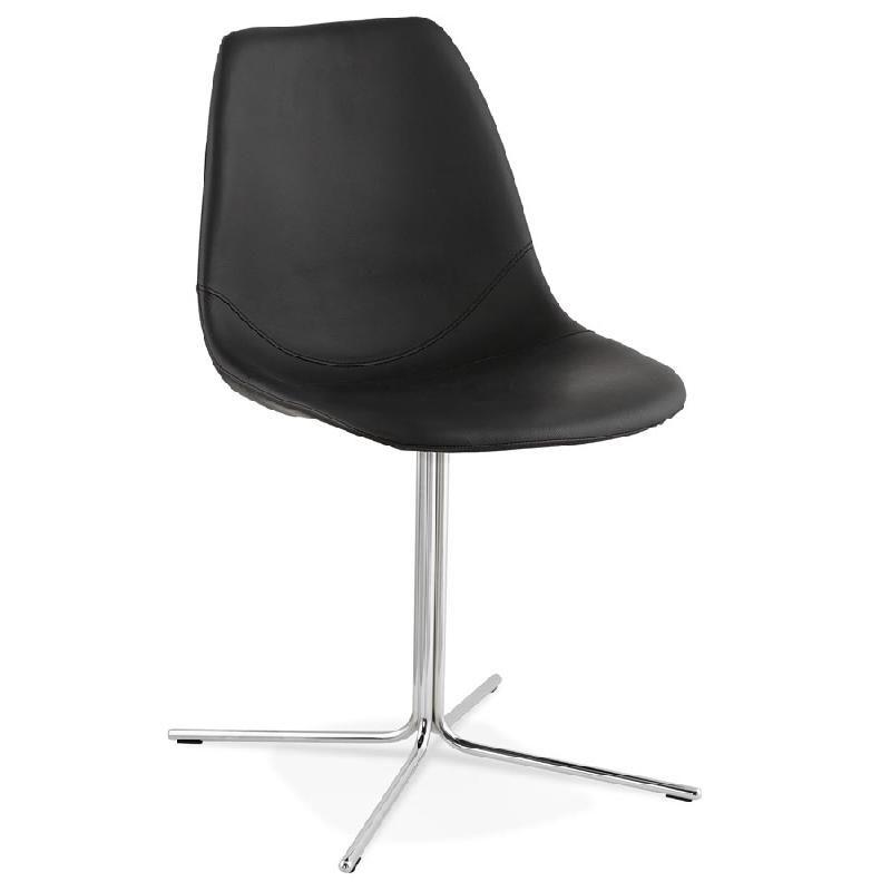 chaise design 39 olala 39 en mati re synth tique noire et pied en m tal comparer les prix de chaise. Black Bedroom Furniture Sets. Home Design Ideas