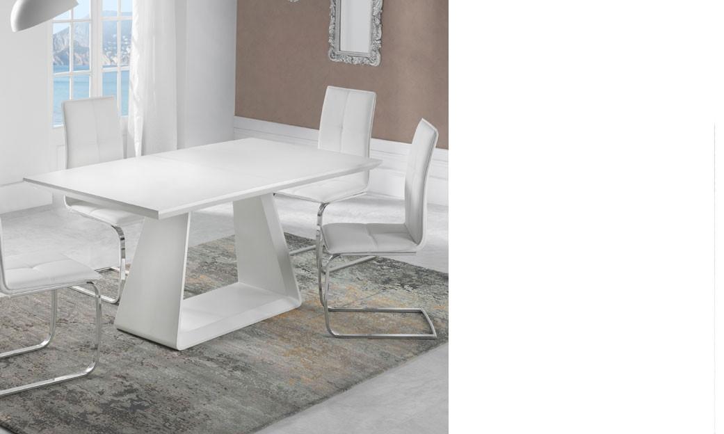table a manger extensible design blanc mat tenda. Black Bedroom Furniture Sets. Home Design Ideas