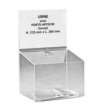 Urne avec porte-affiche en plexi sécurisée - 500 bulletins