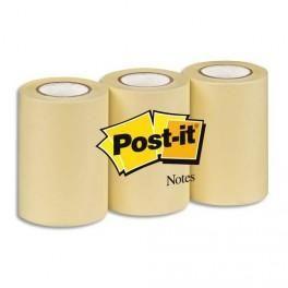 POST-IT PACK DE 3 ROULEAUX DE RECHANGE REPOSITIONNABLES POUR DÉVIDOIR NOTE ON A ROLL 68MMX10M JAUNE BP461