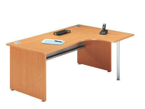 bureau angle avec retour droite et pied de soutien primo h tre. Black Bedroom Furniture Sets. Home Design Ideas