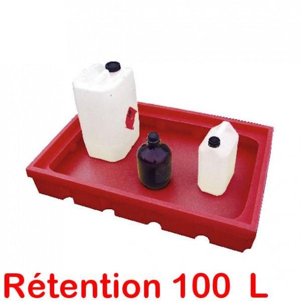 bac a retention plastique 100 litres pour etageres sans caillebotis. Black Bedroom Furniture Sets. Home Design Ideas