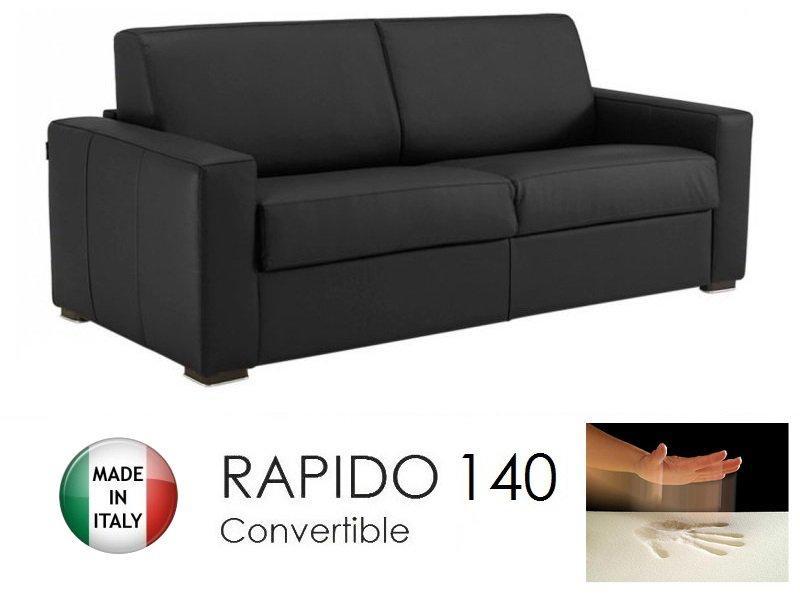 canape convertible rapido 140cm dreamer cuir eco noir matelas 140 14 190 cm a memoire de forme. Black Bedroom Furniture Sets. Home Design Ideas