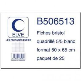 ELVE 25 FICHES BRISTOL 190G QUADRILLÉ 5X5 50X65 CM - SOUS FILM