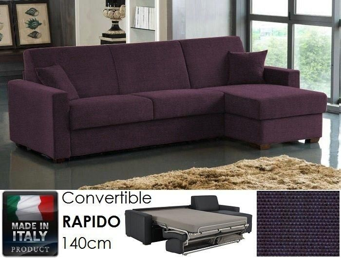 canape d 39 angle rapido 140cm dreamer tissu tweed violet matelas 14 cm couchage quotidien coffre. Black Bedroom Furniture Sets. Home Design Ideas