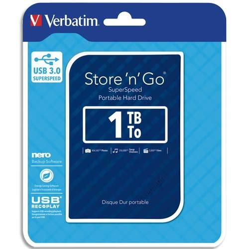 Verbatim disque dur 2,5 usb 3.0 store'n'go style 1to bleu 53200