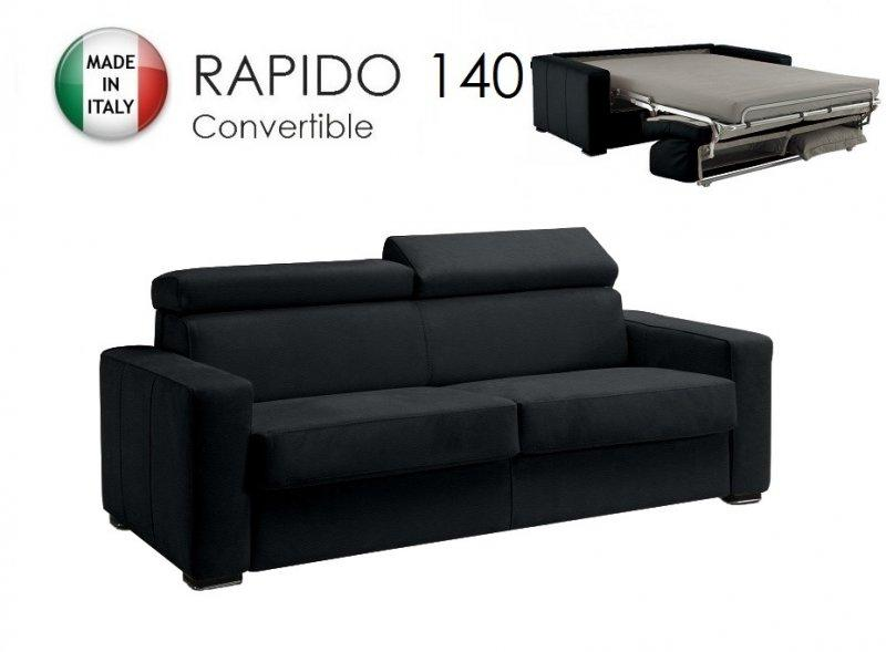 canape rapido sidney deluxe cuir vachette noir matelas 14 cm couchage quotidien 140 cm. Black Bedroom Furniture Sets. Home Design Ideas