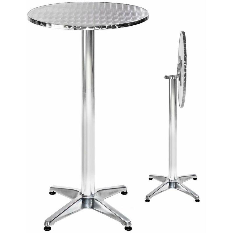 tectake table mange debout en aluminium pliable o 60 cm hauteur reglable 74 cm ou 114 cm o pied 6 5 cm